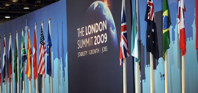 "G-20's London summit, which supported unprecedented increase in IMF resources as part of package ""to restore credit, growth and jobs in world economy"" (photo: David Wimsett/UPPA)"