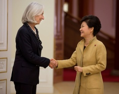 International Monetary Fund Managing Director Christine Lagarde (L) meets with Korea's President Park Geun-hye (R) at the Blue House December 4, 2013 in Seoul, Korea Lagarde is on a three country visit to Asia. IMF Photograph/Stephen Jaffe