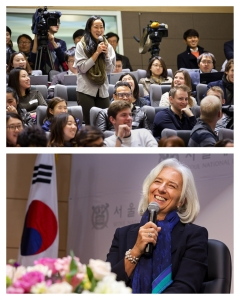 A student asks International Monetary Fund Managing Director Christine Lagarde a question after she spoke at the Student Town Hall at Seoul National University December 5, 2013 in Seoul, Korea Lagarde is on a three country visit to Asia. IMF Photograph/Stephen Jaffe