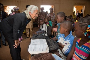 International Monetary Fund Managing Director Christine Lagarde visits a primary school January 10, 2014 in Bamako, Mali. Lagarde is on a two country visit to Africa. IMF Photograph/Stephen Jaffe