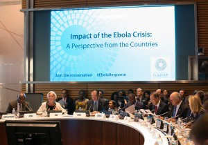 International Monetary Fund Managing Director Christine Lagarde speaks a a conference on Ebola as she is joined United Nations Secretary General Ban Ki-Moon, World Bank President Jim Yong Kim and President of the African Development Bank Donald Kaberuka during the 2014 IMF/World Bank Annual Meetings at the World Bank October 9, 2014 in Washington.