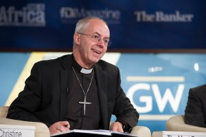The Most Reverend Justin Welby, Archbishop of Canterbury speaks in the panel discussion The Future of Finance: Ethics and Finance at the George Washington University Jack Morton Auditorium as part of the 2014 IMF / World Bank Annual Meetings in Washington, D.C. on Sunday, October 12th. Photo by Ryan Rayburn / IMF