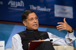 Arvind Subramanian, Chief Economic Advisor to the Indian Government, speaks during the seminar The New Global Trade Landscape: Challenges and Opportunities during the 2015 IMF/World Bank Spring Meetings on Friday, April 17 in Washington, D.C. IMF Photo/Ryan Rayburn