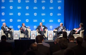 The first session featured (l-r) Mario Blejer, Guillermo Ortiz, Alejandro Werner, Arminio Fraga, and Charles Collyns (IMF photo).